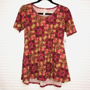 LulaRoe Perfect T Wine Gold Green Shirt